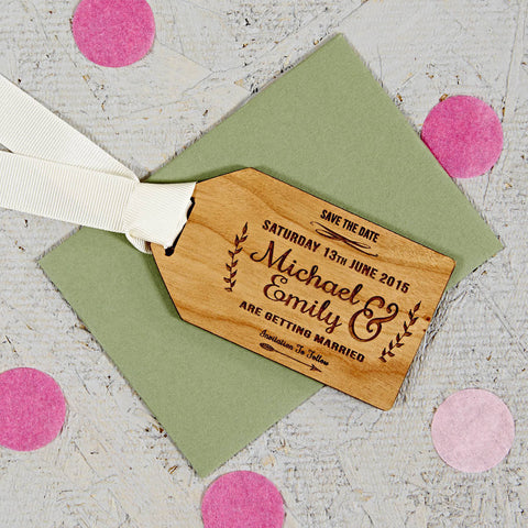 Floral Wooden Save The Date Gift Tag