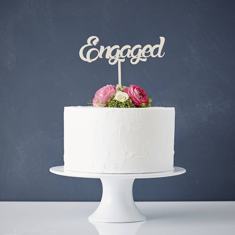 Engaged Wooden Cake Topper