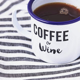 Coffee Or Wine Personalised Enamel Mug