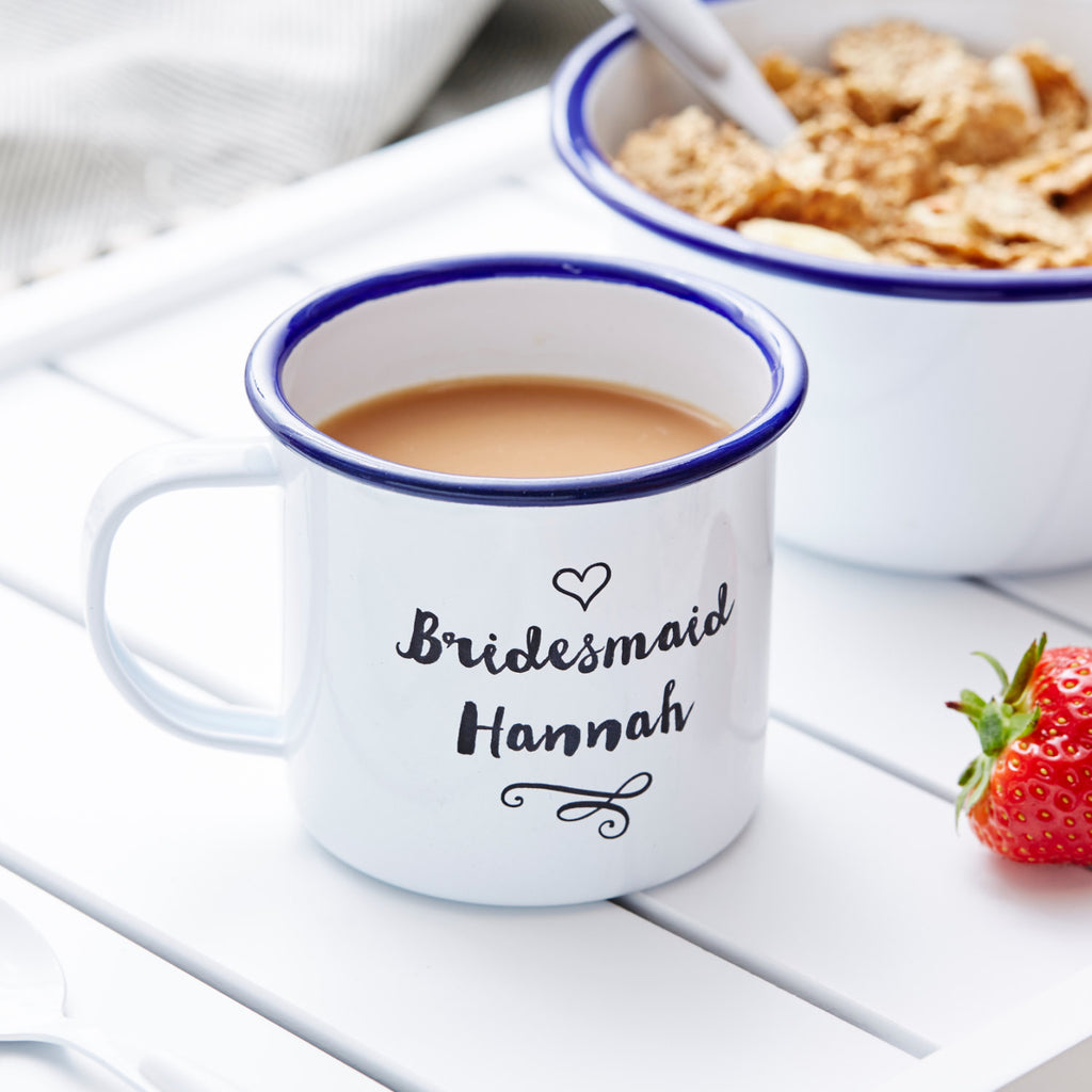 Personalised Bridesmaid Enamel Mug