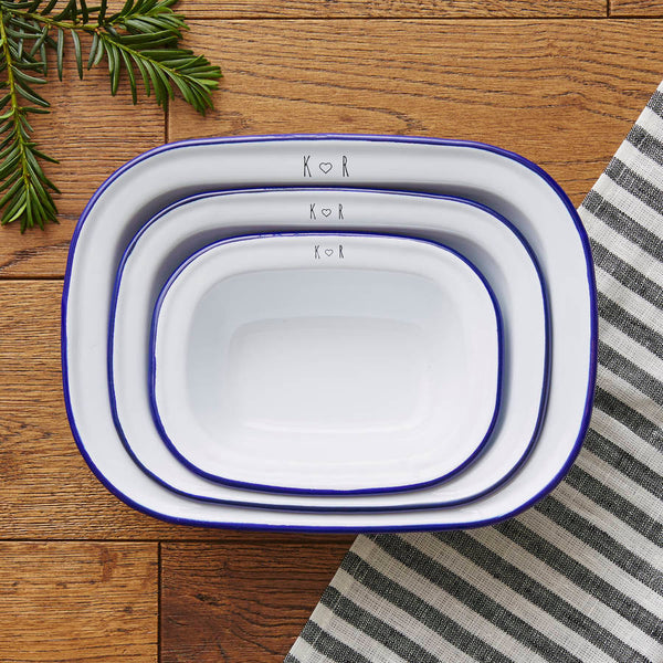 Personalised Initials Enamel Pie Dish Set