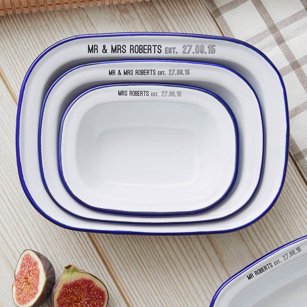 Personalised Enamel Pie Dish Wedding Gift Set