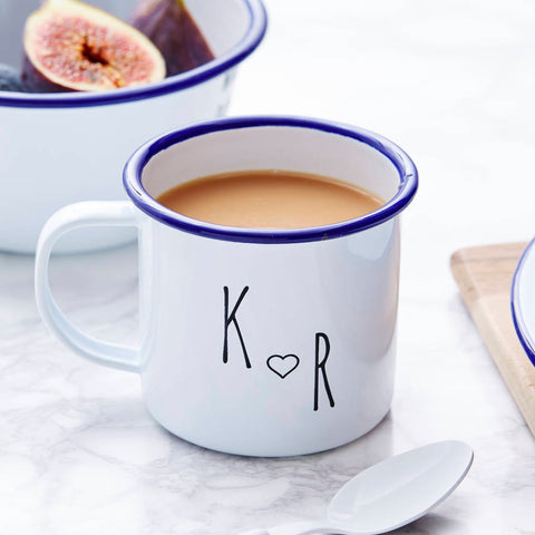Enamel Personalised Couples Initial Mug