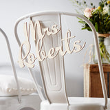 Personalised Wooden Wedding Chair Sign