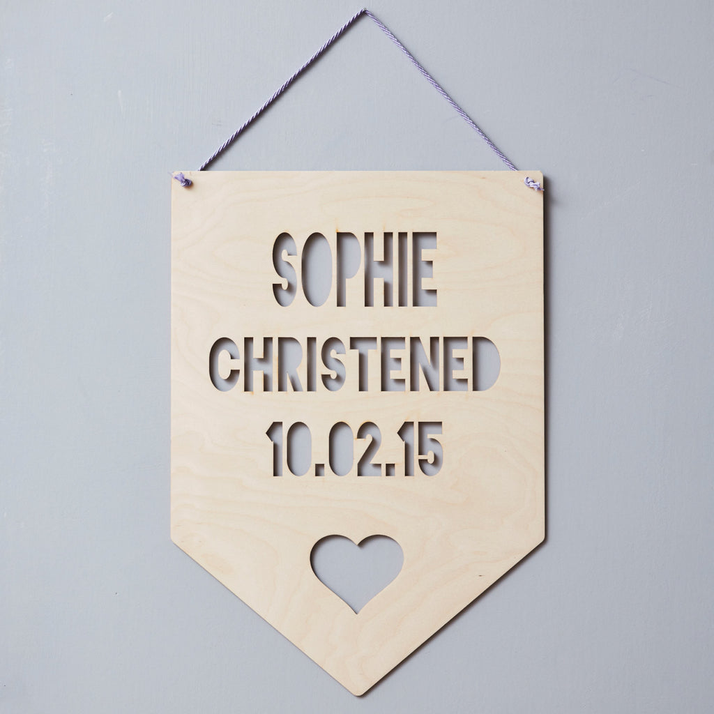 Personalised Christening Heart Hanging Wooden Flag
