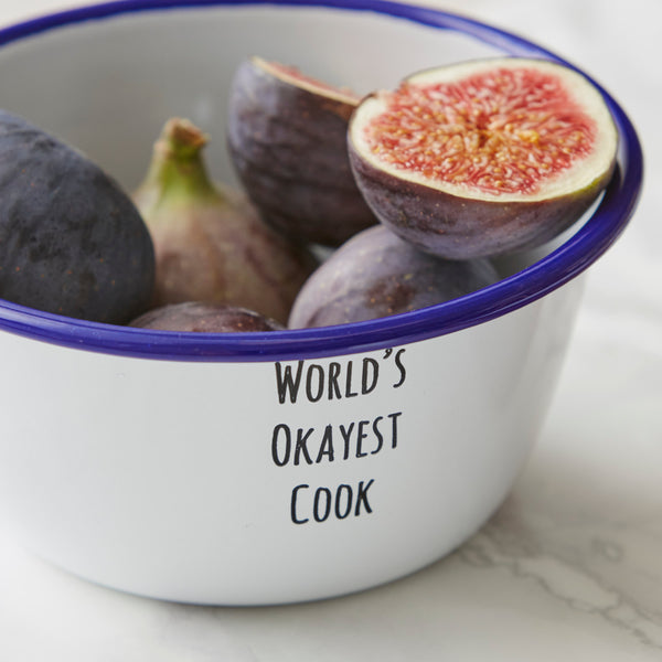 Personalised 'World's Okayest Cook' Enamel Bowl
