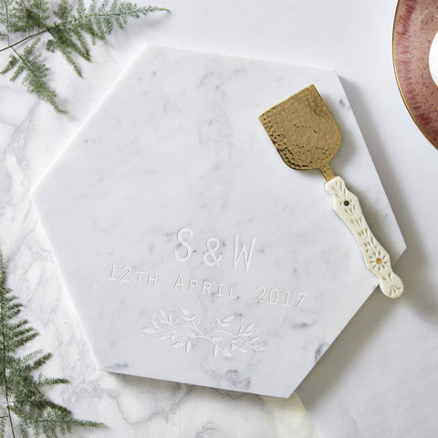 Botanical Personalised Marble Serving Board