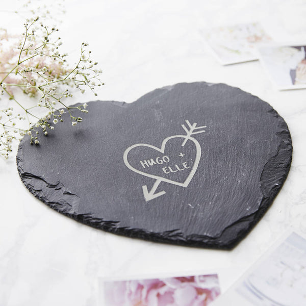 Carved Heart Slate Personalised Cheese Board