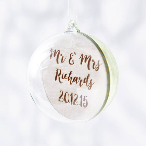 Engraved Colourful Mr And Mrs Christmas Bauble