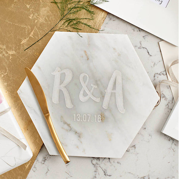 Personalised Couples Marble Serving Board