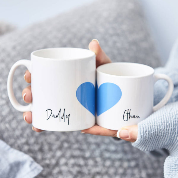 Personalised Daddy And Me Heart Mug Set