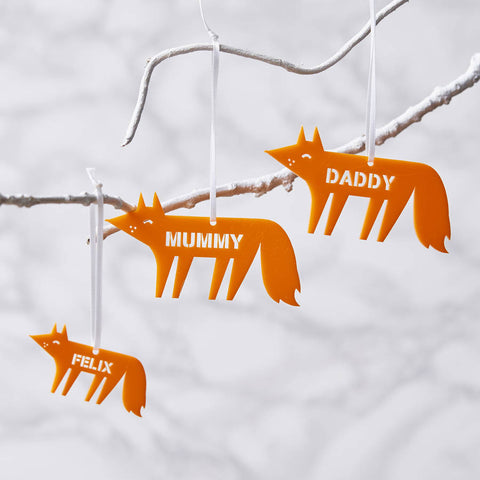 Personalised Fox Christmas Decoration