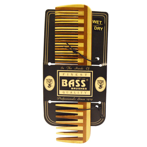 Bamboo Comb (Wide & Fine Tooth) by Bass Brushes