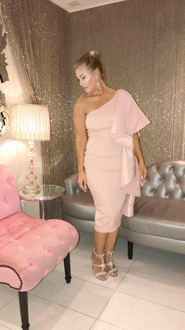 One Shoulder Blush Pink Dress