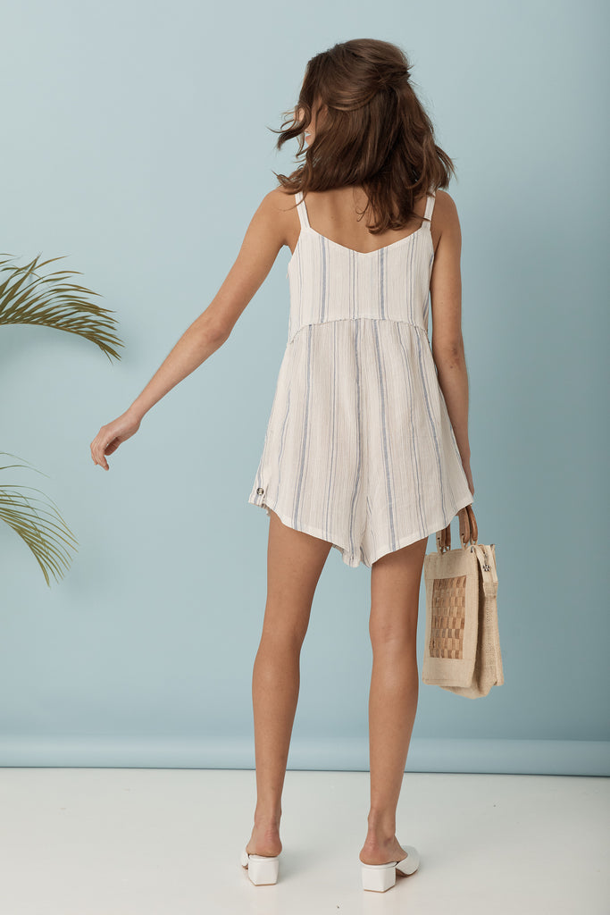 Midsummer Romper - Blue / White Stripe