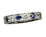 5 Bead Pavé Diamond and Blue Sapphire Band
