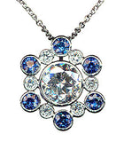 Diamond and Sapphire Cluster Pendant