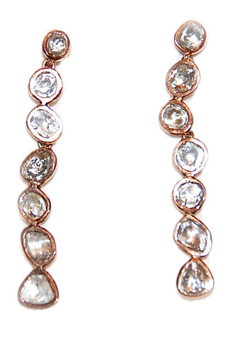 18kt Gold cascading mine cut diamond earring