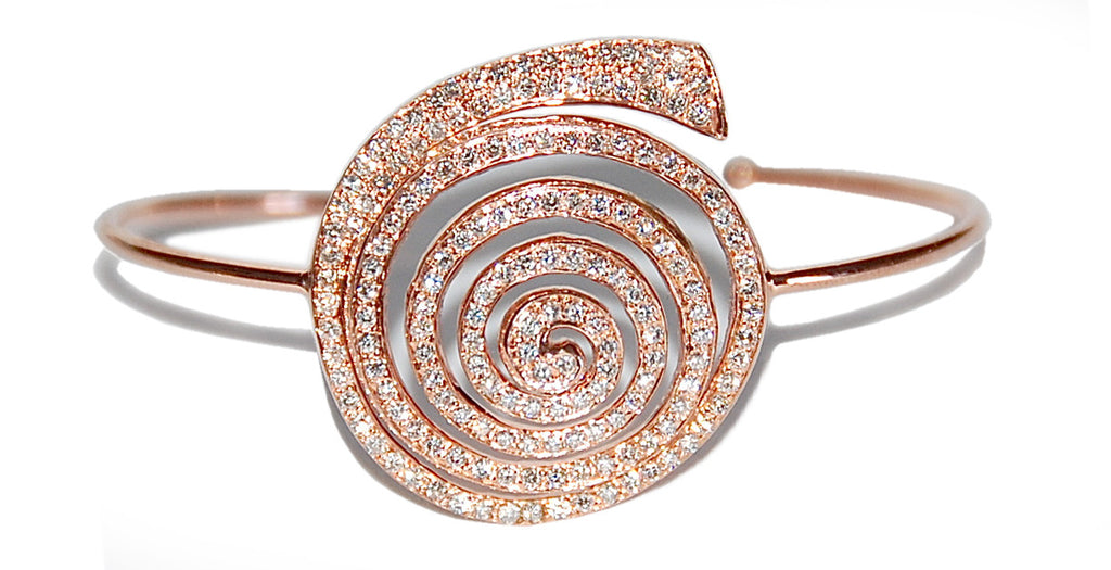 18kt rose gold round shell pave diamonds cuff