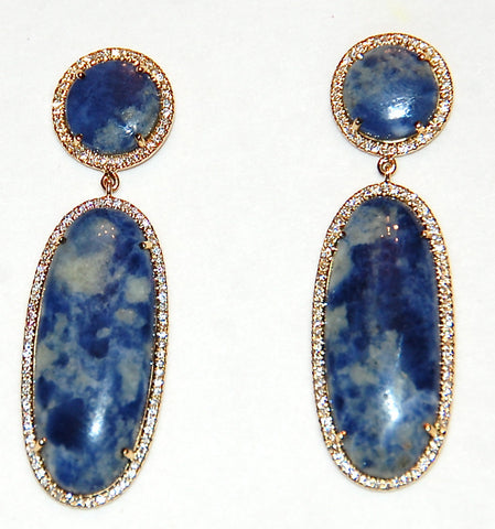 Gold Azurite/Sodalite paved diamond