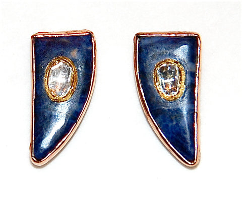 18kt Gold sodalite fin paved diamond earring