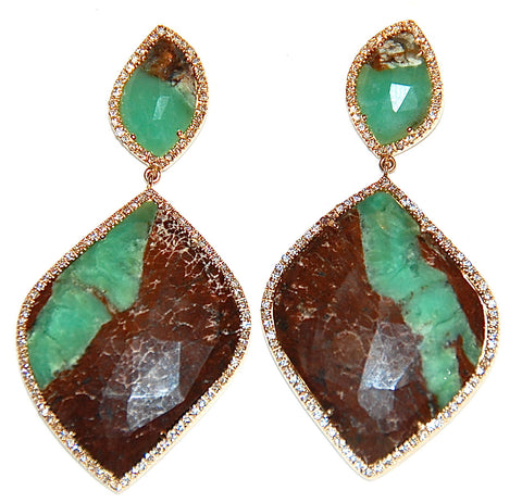 Chrysophase paved diamond earring