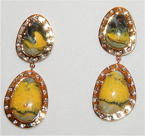18kt Gold jasper with flush diamond earring