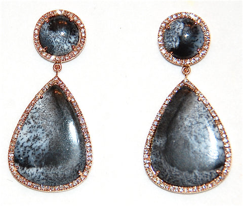 18kt Gold black and white Dendritic paved diamond earring