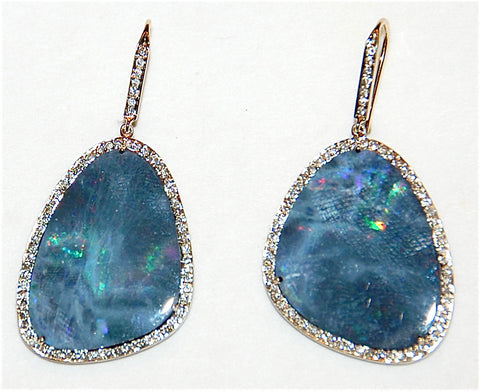 18kt Gold opal paved diamond earring