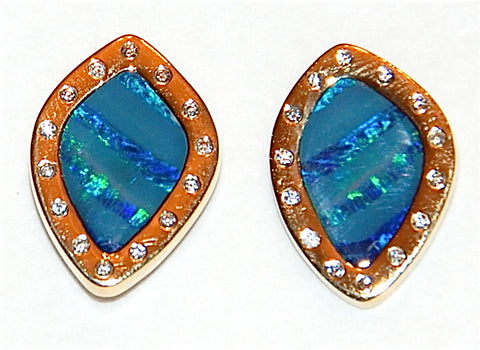 18kt gold opal flush diamond stud earring