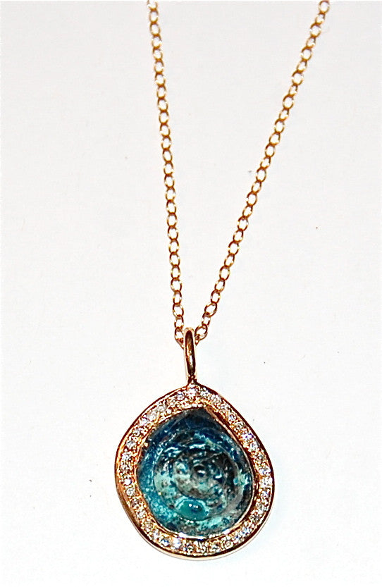 African turquoise round shell with paved diamond plain opal pendant