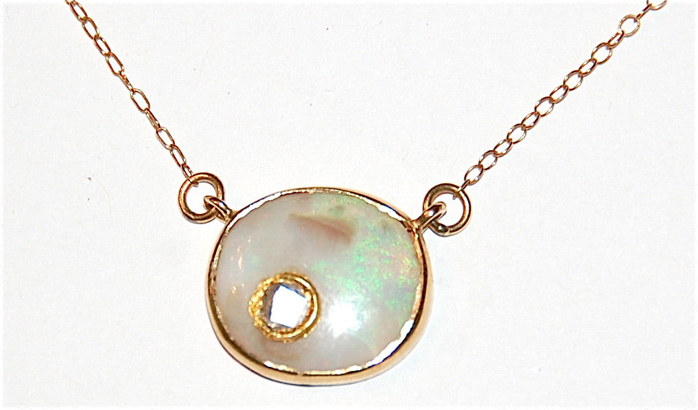 Green white opal with polki diamond necklace