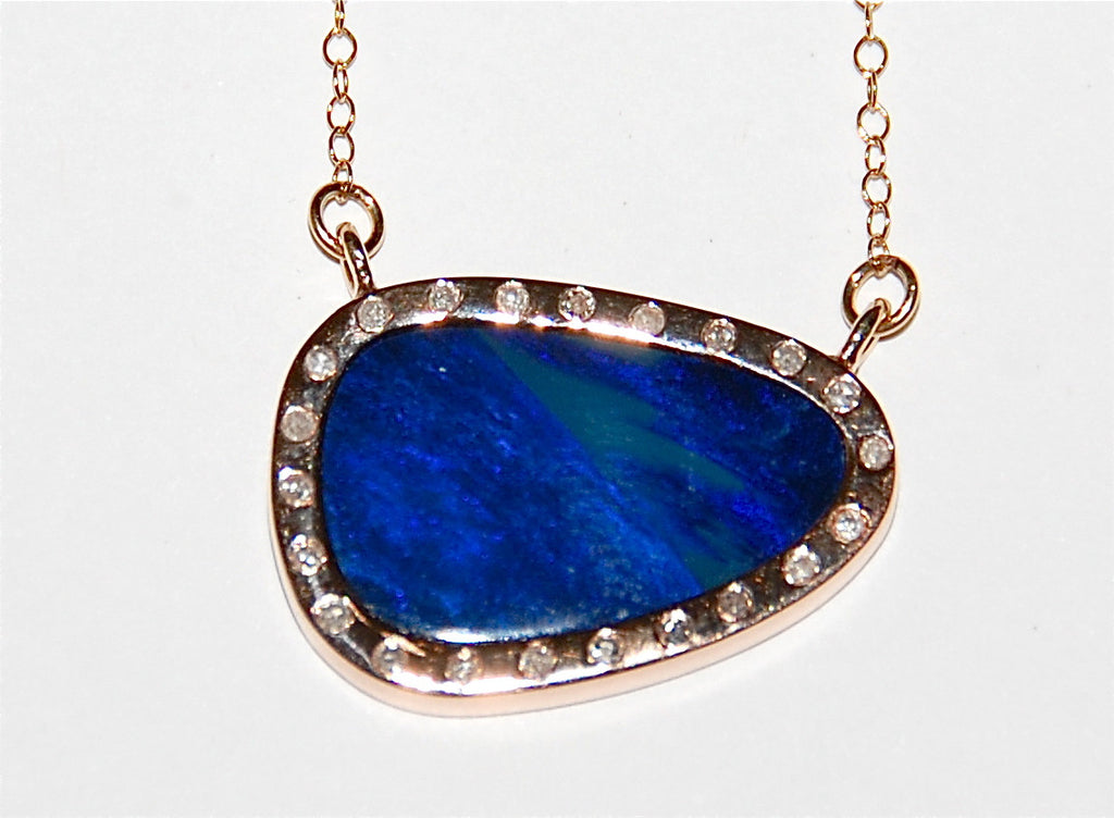 Blue opal flush diamond necklace