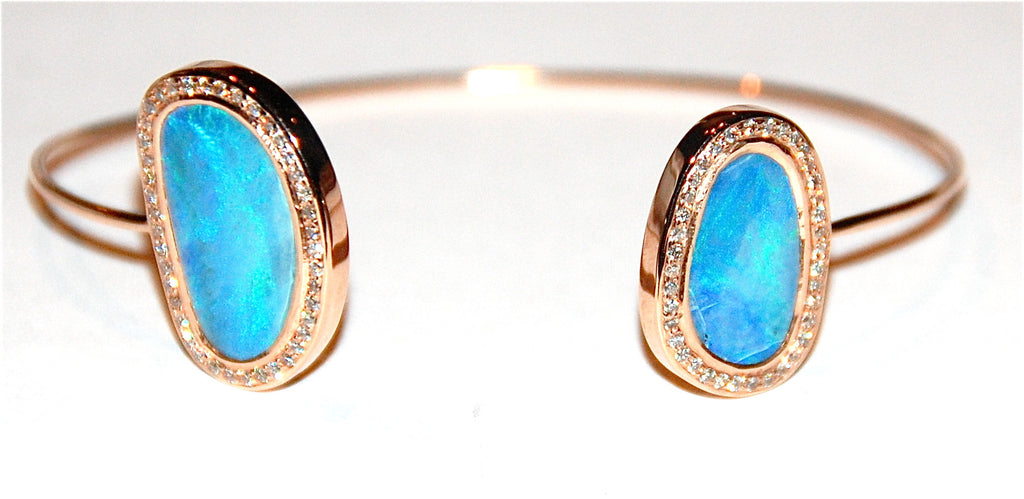 Blue opal paved diamond cuff