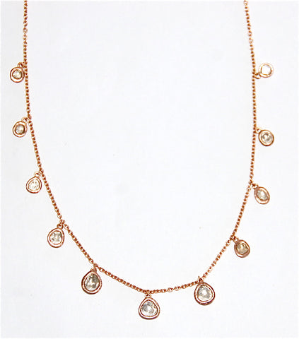 18kt Gold necklace with mine cut diamonds