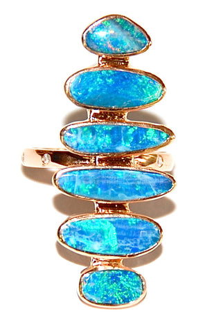 Light blue opal scale ring