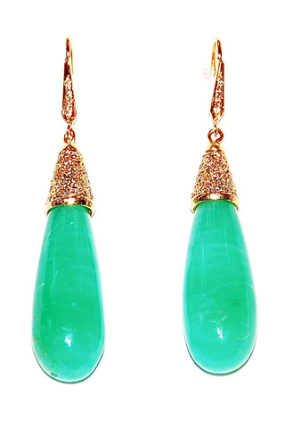 Chrysoprase tear drop with diamond cap and stem