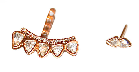 Double rose cut diamond stud sold separately