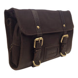 AsdruMark Dark Brown Leather & Canvas Hanging Wash Bag