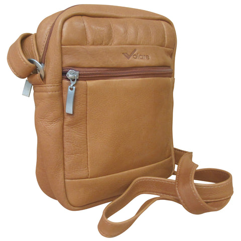 Volare Tan Genuine Leather Compact Travel Flight Bag