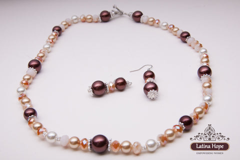 Brown Earthtone Necklace Earring Set - FREE SHIPPING!