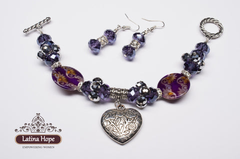 Lavender-Colored Crystal & Silver Beaded Bracelet, Earring Set - FREE SHIPPING!