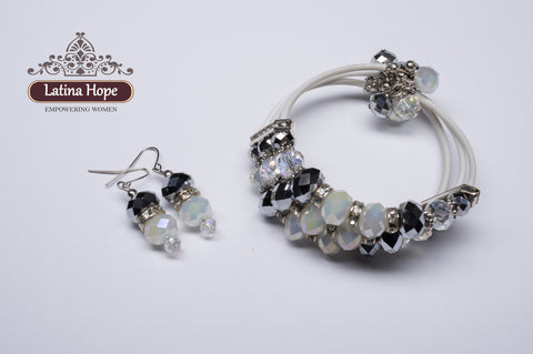 3-Strap White Band Crystal Bracelet & Earring Set - FREE SHIPPING!