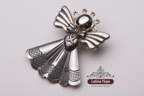 Gingham Dress Silver Angel Pin - FREE SHIPPING! (#3)