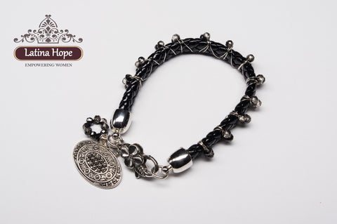 Black Braided Band with Beads and Charms - FREE SHIPPING!