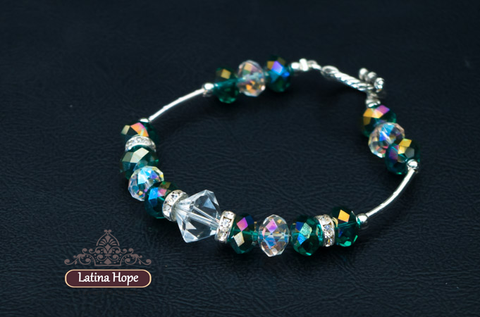 Iridescent Green Crystal Bracelet  - FREE SHIPPING!