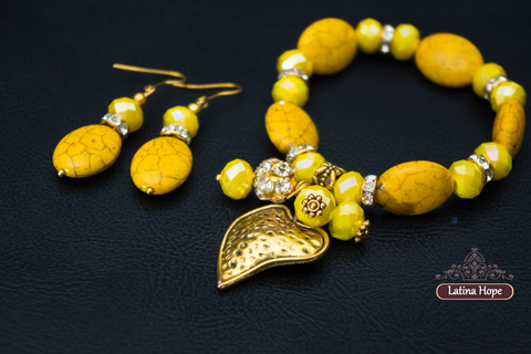 Yellow Faux Stone Bracelet and Earring Set - FREE SHIPPING!