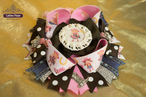 Chunky Cowgirl Pink, Brown and Denim Bow - FREE SHIPPING!