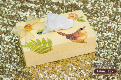 Decoupaged Wooden Tissue Box - FREE SHIPPING!
