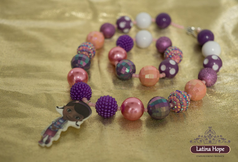 Chunky Doc McStuffins Inspired Girl's Bracelet and Necklace Set - FREE SHIPPING!